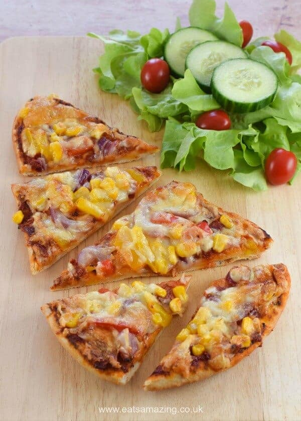 Easy Naan bread pizza recipe - a great quick midweek meal that kids will love - Eats Amazing UK