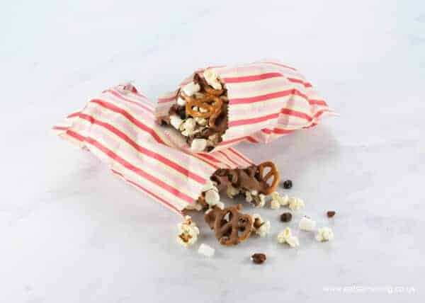 Easy chocolate popcorn snack mix recipe - fun treat for the kids - great for camping and picnics - Eats Amazing UK