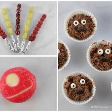 Fun and easy Star Wars themed snacks for kids - perfect for Star Wars party food - Eats Amazing UK - Babybel Cheese Death Star.jp