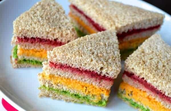 Healthy rainbow sandwiches from Organix - one of 25 healthy toddler recipes the whole family can enjoy