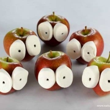 Quick and easy funny face apples fun food tutorial for kids - Eats Amazing UK