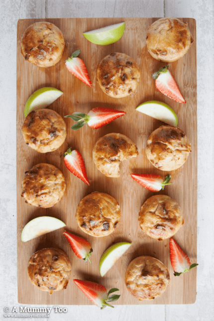 Strawberry and apple muffins recipe from A Mummy Too - one of 25 healthy toddler recipes the whole family can enjoy