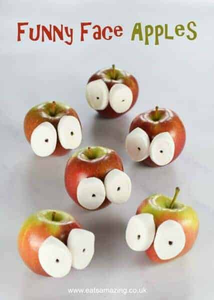 These funny face apples are SO quick and easy - kids will love this fun food idea - great for parties and after school snacks - Eats Amazing UK
