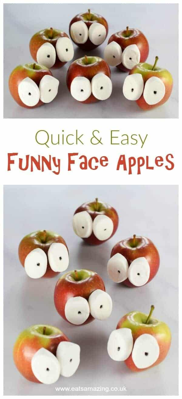 These funny face apples are SO quick and easy - kids will love this fun food idea - great for party food and after school snacks - Eats Amazing UK