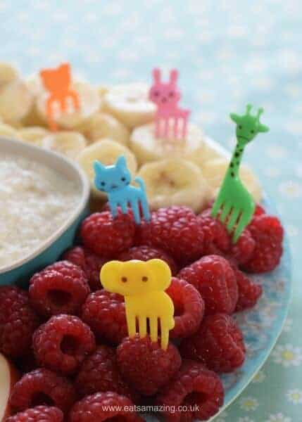 Fruit platter with 3 ingredient healthy coconut fruit dip - make it fun for kids with cute animal bento forks - Eats Amazing UK