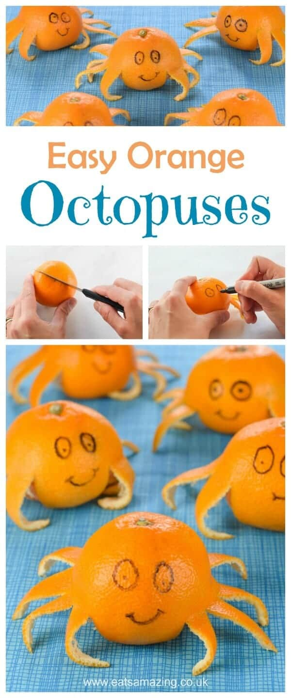 Fun Food for Kids - How to make an orange octopus - cute and easy party food idea for kids - great healthy snack for a beach or ocean themed party
