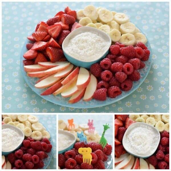 Quick and easy healthy coconut fruit dip recipe - just 3 ingredients - Eats Amazing UK