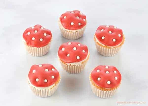 Quick and easy mini toadstool cupcakes for a Noddy themed birthday party - Eats Amazing UK