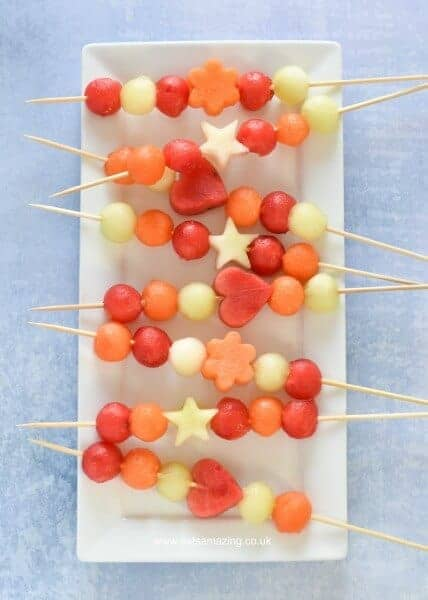 Cute and easy Melon fruit Kebabs - gorgeous starter or party food recipe for summer - kids will love this healthy snack - Eats Amazing UK