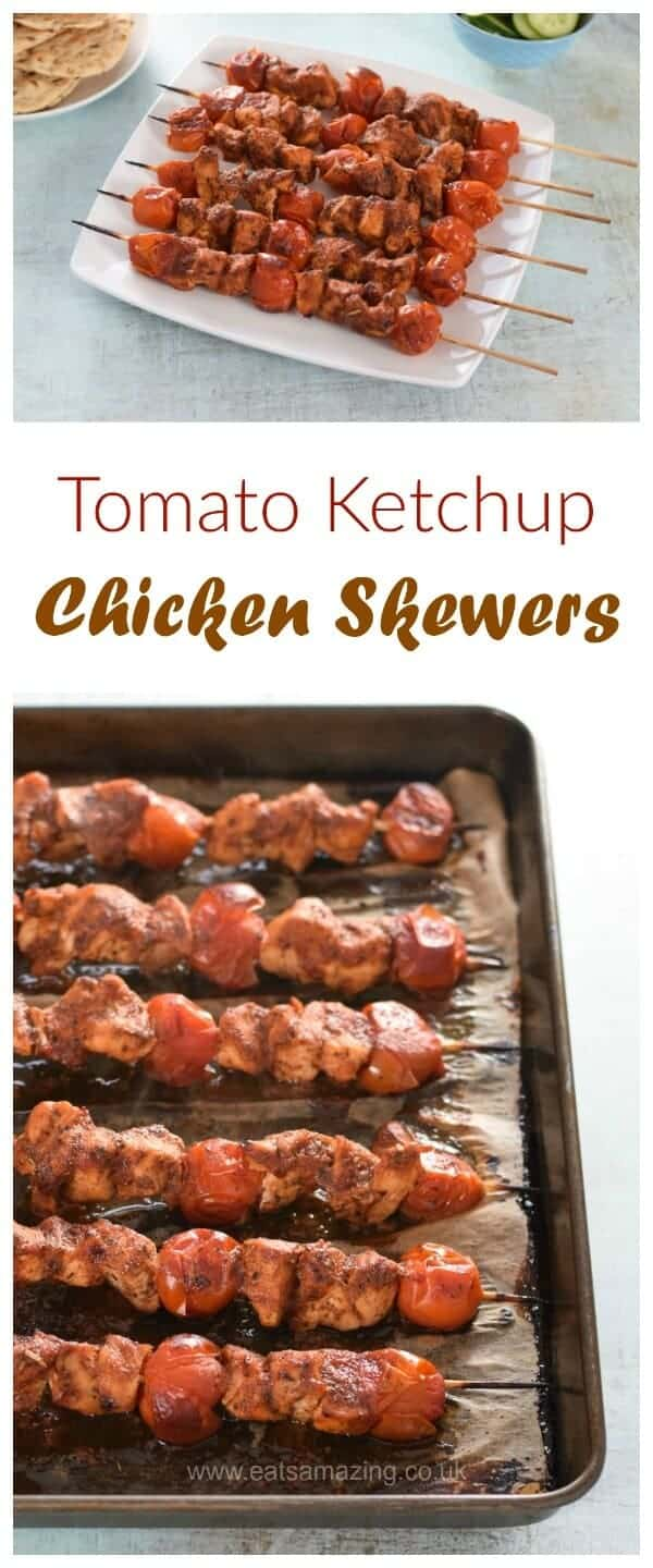Easy oven baked tomato ketchup chicken skewers receipe - a delicious healthy meal the whole family will love - Eats Amazing UK