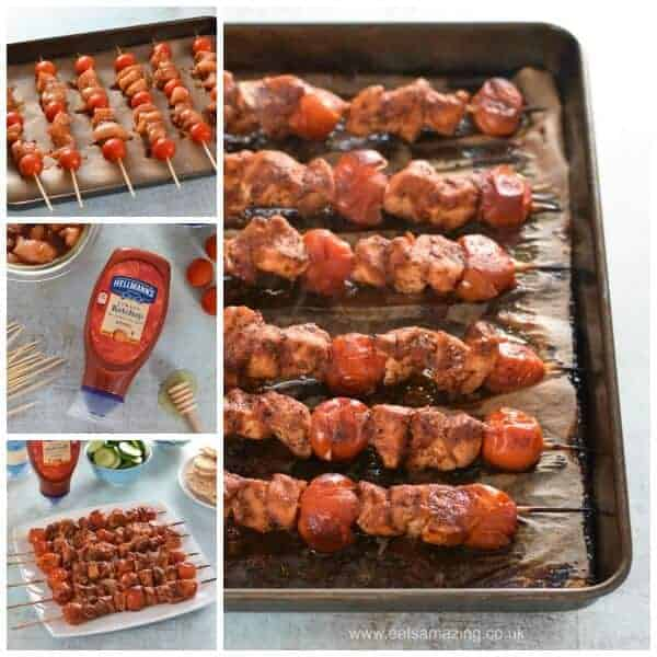 Easy oven baked tomato ketchup chicken skewers recipe - a delicious healthy meal the whole family will love from Eats Amazing UK