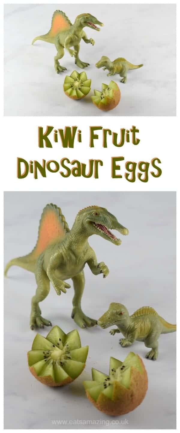 Fun Food Tutorial - Kiwi Fruit Dinosaur Eggs - make healthy fun food for kids with this easy food art trick that is great for healthy party food - Eats Amazing UK