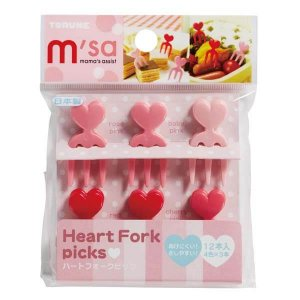 Heart Fork Picks - Set of 12 from the Eats Amazing UK Bento Shop - Making Fun Food for Kids
