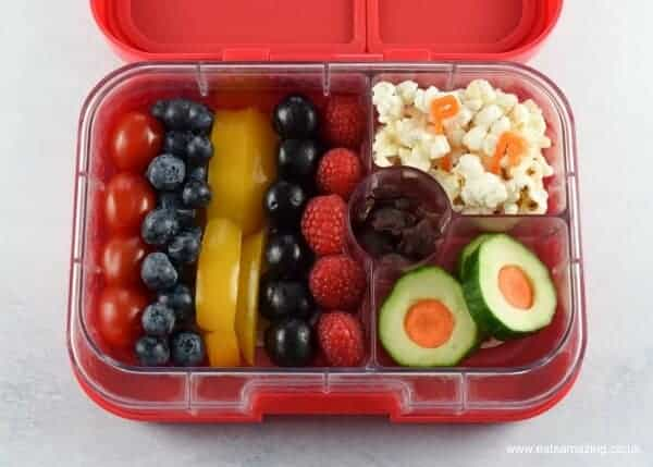 How to make a cool Power Rangers bento box lunch for kids - fun food for a special occasion from Eats Amazing UK