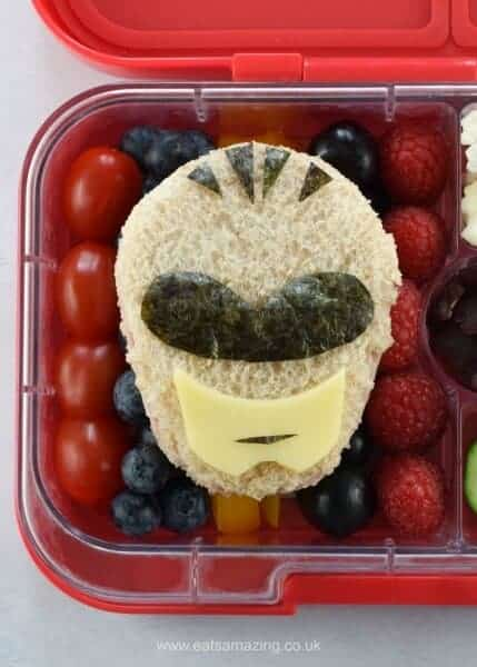 How to make a power rangers sandwich and power rangers themed lunch box for kids - fun lunch for a special occasion from Eats Amazing UK