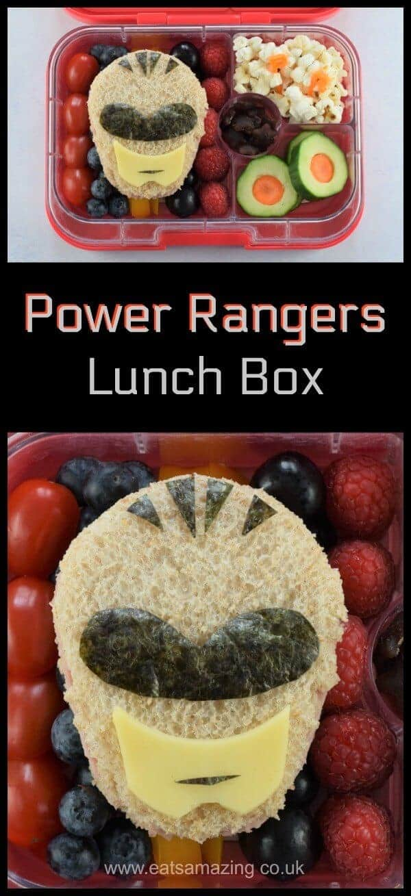 How to make an awesome Power Rangers themed lunch box for kids - fun and healthy bento box lunch idea for a special occasion - with video - Eats Amazing