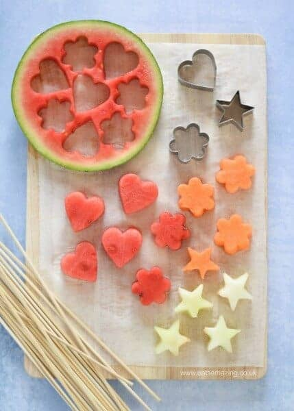 How to make easy Melon Fruit Kebabs - gorgeous starter or party food recipe for summer - kids will love this healthy snack - Eats Amazing UK