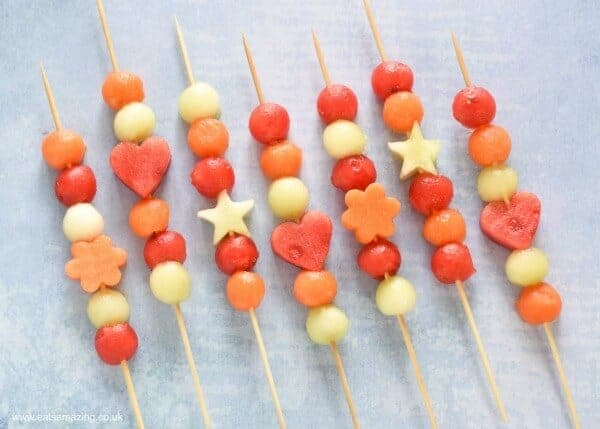 How to make easy Melon fruit Kebabs - gorgeous starter or party food recipe for summer - kids will love this healthy treat - Eats Amazing UK