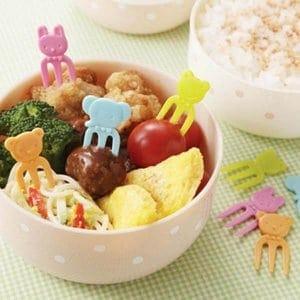 Mini Bright Animal Fork Picks - Set of 12 from the Eats Amazing Shop - Fun Kids Bento Accessories UK