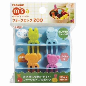 Mini Bright Animal Fork Picks - Set of 12 from the Eats Amazing UK Bento Shop - Making Fun Food for Kids