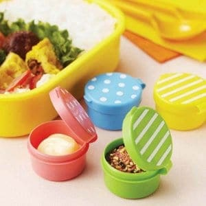 Polka Dots and Stripes Bright Sauce Containers - Set of 4 from the Eats Amazing Shop - Fun Kids Bento Accessories UK