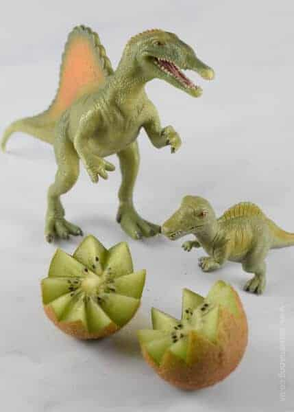 Quick and Easy Kiwi Fruit Dinosaur Eggs - fun snack or healthy party food idea for kids from Eats Amazing UK