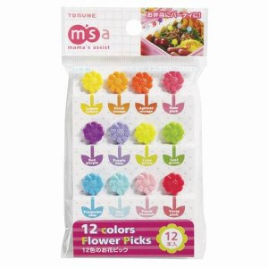 Rainbow Flowers Bento Food Picks - Set of 12 from the Eats Amazing UK Bento Shop - Making Fun Food for Kids