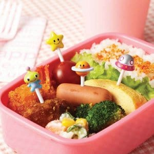 Space Alien Spaceship Planet and Stars Bento Food Picks - Set of 8 from the Eats Amazing Shop - Fun Kids Bento Accessories UK