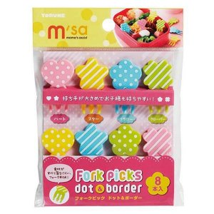 Spots and Stripes Mini Fork Picks - Set of 8 from the Eats Amazing UK Bento Shop - Making Fun Food for Kids