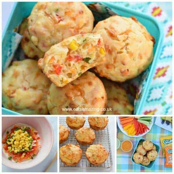 Yummy rainbow vegetable savoury muffins recipe - fun and healthy kid friendly picnic food idea from Eats Amazing UK