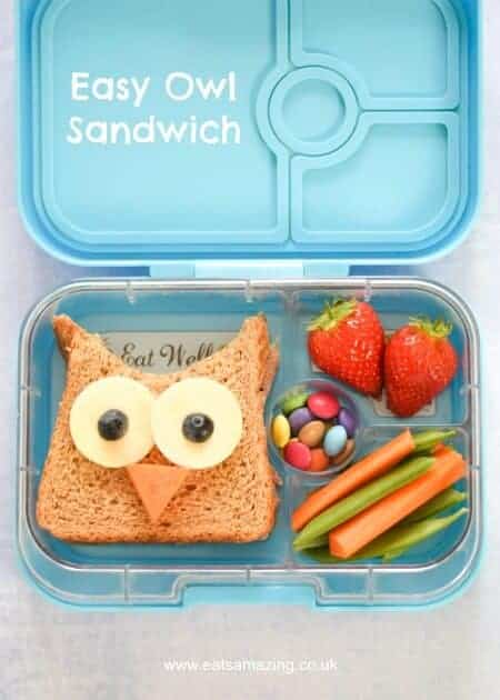 This cute owl sandwich is perfect for school lunch boxes, bento boxes and party food too #EatsAmazing #funfood #kidsfood #sandwichart #edibleart #owl #backtoschool #bento #lunchboxideas #sandwich #healthykids