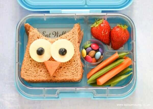 4 Fun and Easy Sandwich Ideas - Fun Food for Kids - perfect for school lunch boxes bento boxes and party food too - Cute Owl Sandwich Yumbox UK