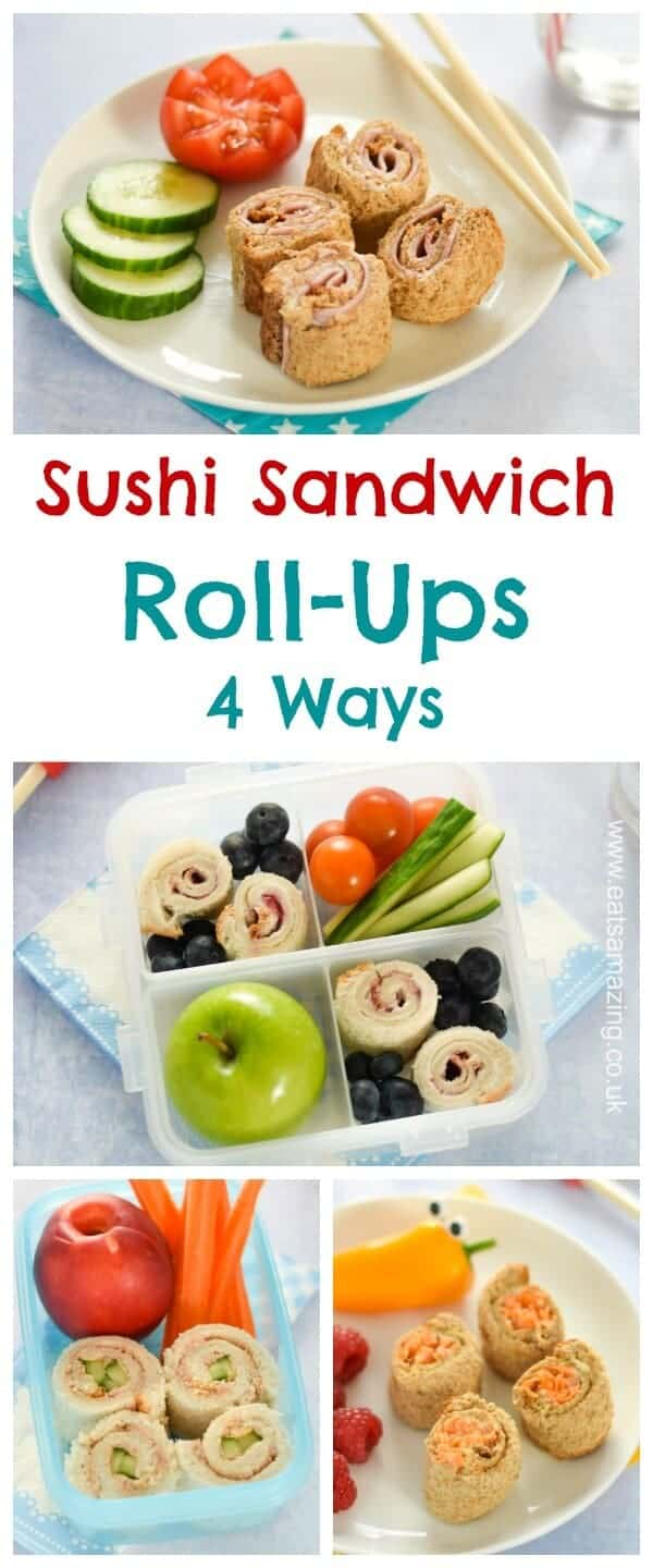 4 quick and easy sushi sandwich roll-ups for kids - fun school lunch box ideas and perfect for bento boxes too - Eats Amazing UK