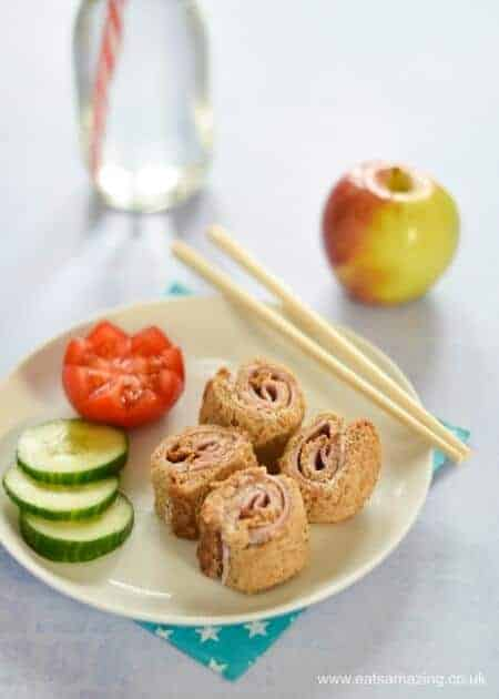 4 quick and easy sushi sandwich roll-ups for kids - fun school lunch box ideas and perfect for bento boxes too - Ham and Cream Cheese