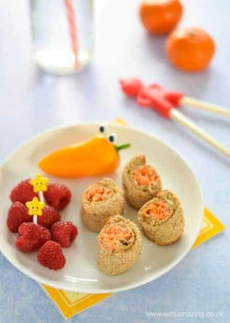 4 quick and easy sushi sandwich roll-ups for kids - fun school lunch box ideas and perfect for bento boxes too -Houmous and Carrot