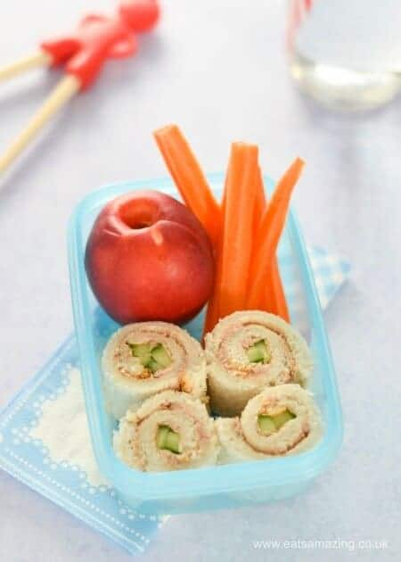 4 quick and easy sushi sandwich roll-ups for kids - fun school lunch box ideas and perfect for bento boxes too - Tuna and Cucumber
