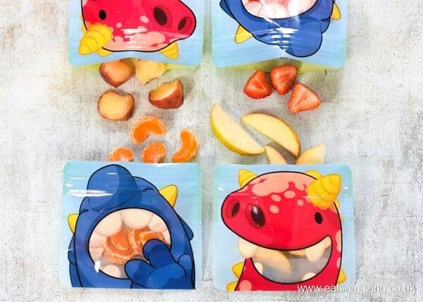 75 easy healthy snack ideas for kids - great for days out and after school snacks too - fresh fruit snacks packed in Nom Nom Kids Snack pouches
