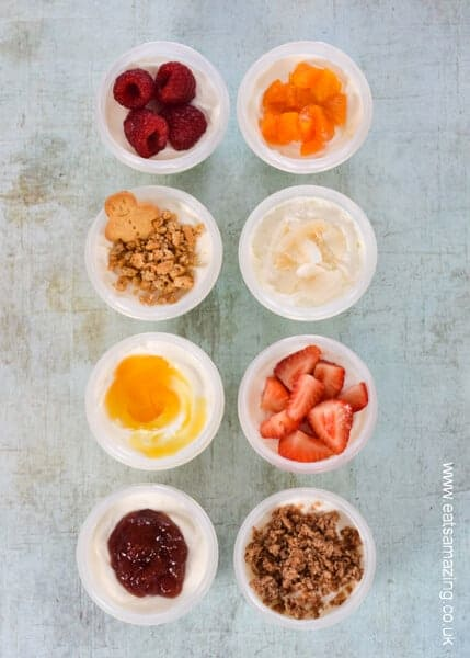 8 Kid friendly ideas for healthy yogurt toppings - great for healthy snacks breakfast and school lunch boxes too - Eats Amazing UK