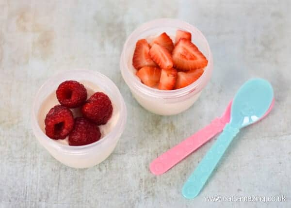 8 healthy yogurt toppings for kids - fresh strawberries and raspberries - Eats Amazing UK
