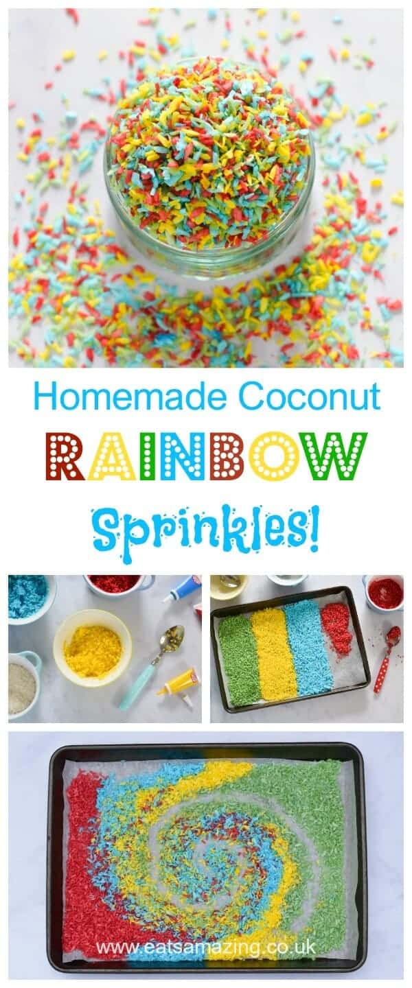 DIY Easy Homemade Rainbow Coconut Sprinkles Recipe - make your own customisable healthy sprinkles for kids #FunFood #RainbowFood #Healthy #Recipe
