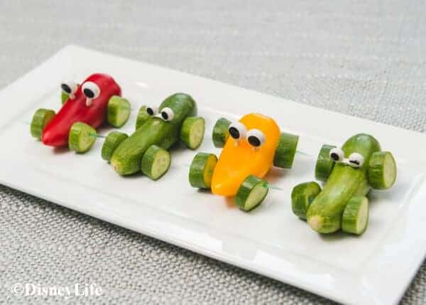 Disney Cars Themed Picnic Recipes - healthy fun food for kids that makes great party food too - Vegetable Cars