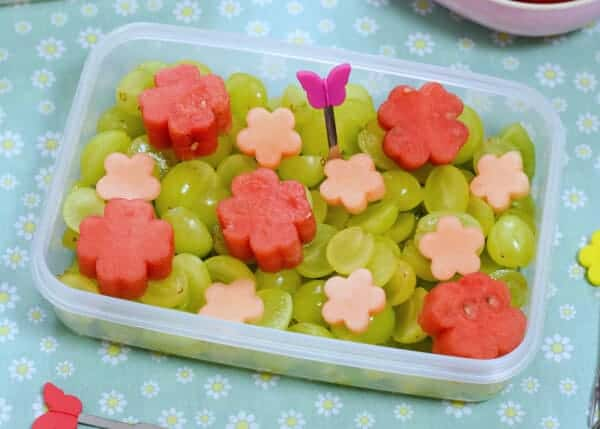 Disney Tangled Themed Picnic with 5 fun recipes for cute Tangled inspired food kids will love - flowery fruit salad