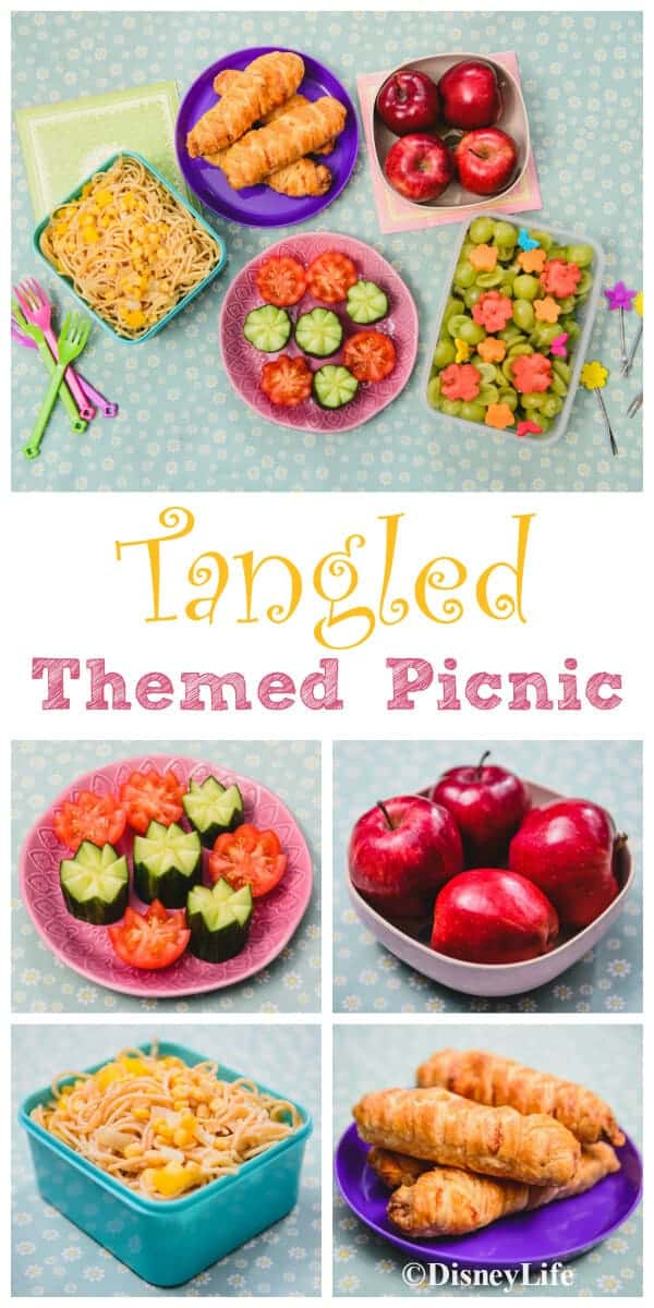 Disney Tangled Themed Picnic with 5 fun recipes for cute Tangled inspired food kids will love - great party food too