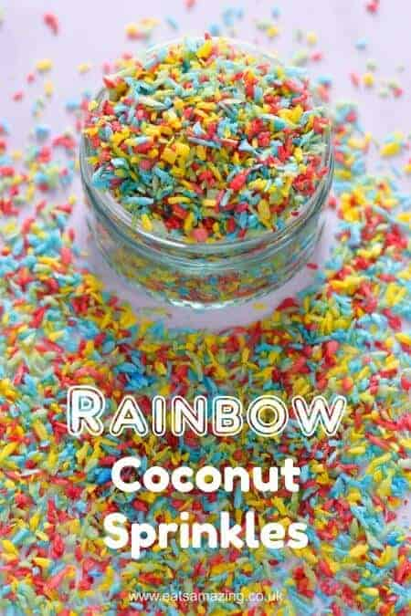 Easy Homemade Rainbow Coconut Sprinkles Recipe - make your own customisable healthy sprinkles for kids #Rainbow #CakeDecorating #FunFood