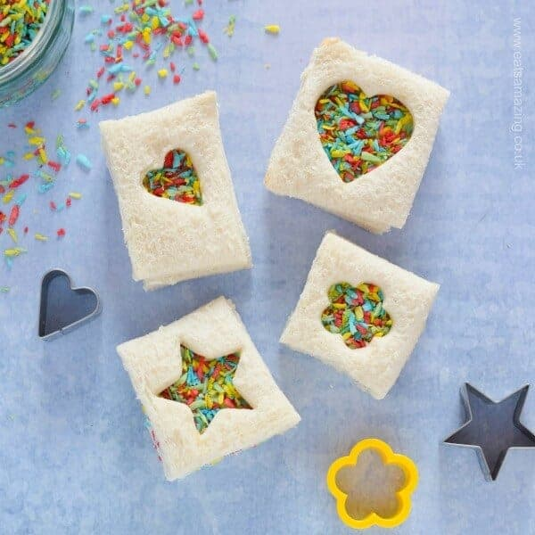 Cute mini fairy bread sandwiches with homemade rainbow coconut sprinkles - perfect for lunchboxes and fun party food for kids - Eats Amazing UK