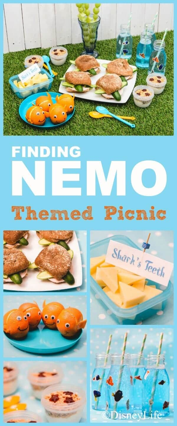 Finding Nemo themed picnic recipes with 6 fun food ideas for kids - perfect for beach or Nemo party food ideas too