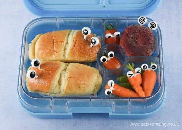 Fun bento lunch idea with googly eye food picks from the Eats Amazing Bento UK Shop - add instant fun to food with these clever bento picks