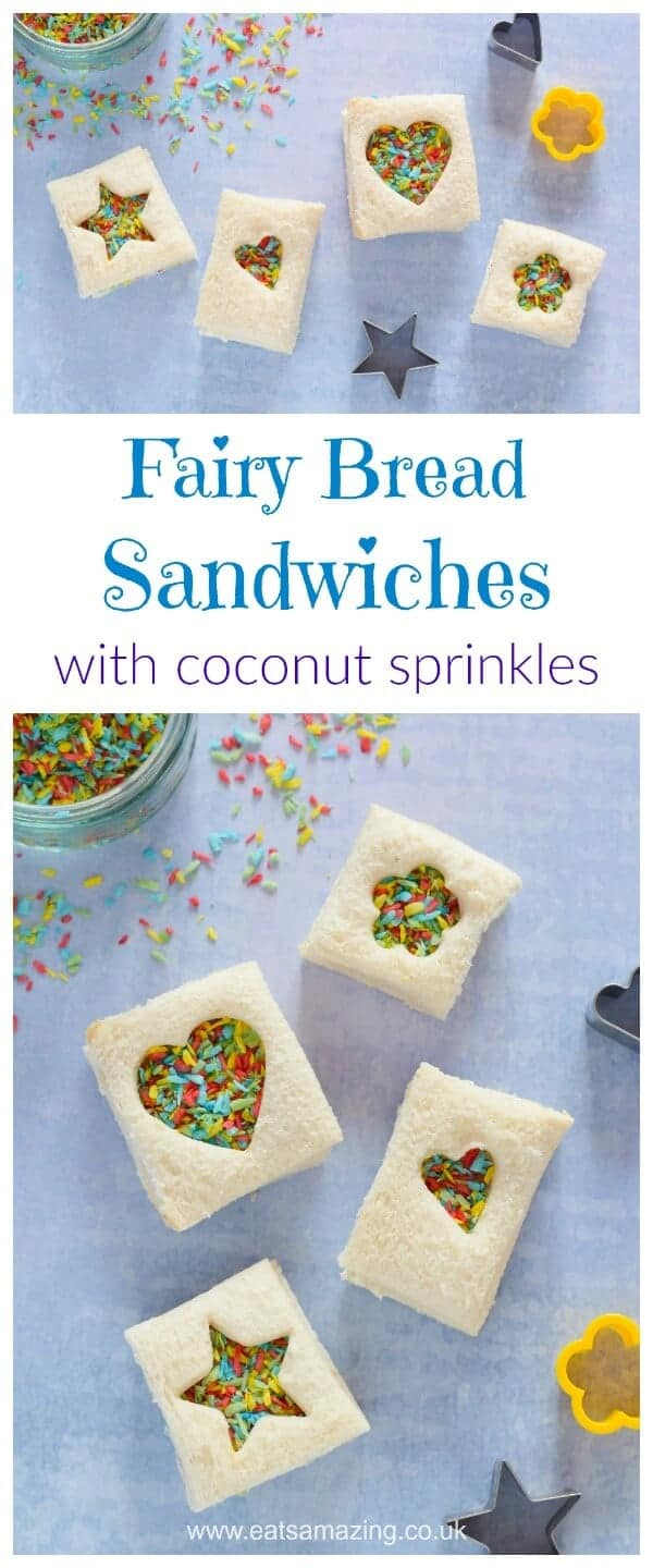 Gorgeous mini fairy bread sandwiches made with homemade rainbow coconut sprinkles - perfect for lunch boxes and party food for kids - Eats Amazing UK #partyfood #kidsfood #recipe #lunchbox