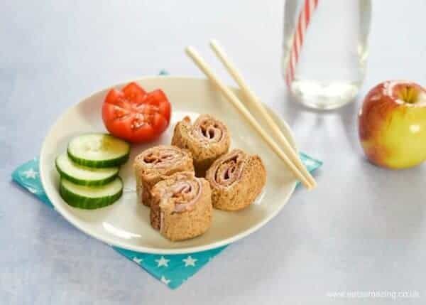 Healthy lunch box ideas - 4 quick and easy sushi sandwich roll ups for kids - perfect for bento boxes - Ham and Cream Cheese