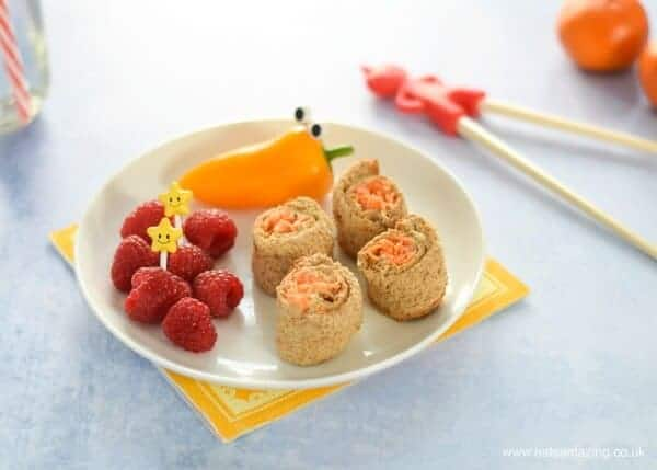 Healthy lunch box ideas - 4 quick and easy sushi sandwich roll ups for kids - perfect for bento boxes - vegetarian houmous and carrot